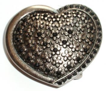 Gürtelschnalle Herz mit Strasssteinen