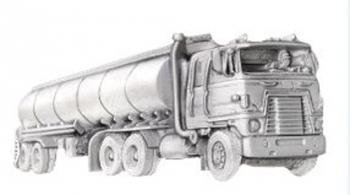 Gürtelschnalle Truck mit Tankauflieger