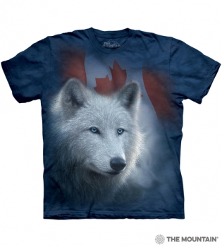 T-Shirt Weisser Wolf mit Kanadischer Flagge von The Mountain (TM)